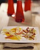 Orange & fennel salad and grape & prosciutto salad