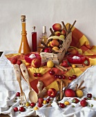 Still life with cherries, apricots and nectarines