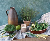 Beans, summer savory, salt and cress