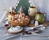 Still life with eggs, flour and salt