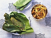 Patra Ni Machhi (Marinated fish in banana leaf, India)