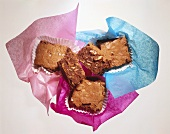Brownies on coloured paper
