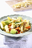 Garganelli con le verdure (Pasta with vegetables, Italy)