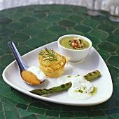 Asparagus, avocado soup, onion tempura, löjrom (whitefish roe)