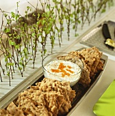 Crispbread and chive dip with whitefish roe (Sweden)
