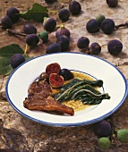Lamb chop with figs and chard