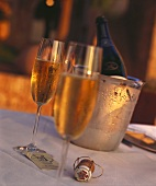Two glasses of champagne with bottle in cooler