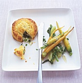 Small vegetable pie, tender braised carrots & baby fennel