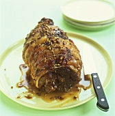 Whole rolled roast shoulder of lamb with coriander seeds