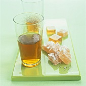 Lokum (Turkish delight) with two glasses of tea