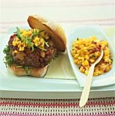 Apple chilli burger in ciabatta with mango salsa