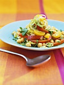 Chick-pea salad with peanuts and rapeseed oil