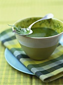 Rocket and cress pesto with pine nut oil in a ceramic bowl