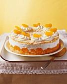 Whole quark cake with mandarin oranges
