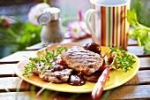 Grilled veal cutlets