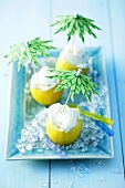 Lemon ice cream in lemon shells