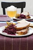 Roast pork with crackling, red cabbage and dumpling