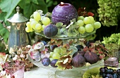 Fruit and hydrangeas on tiered stand