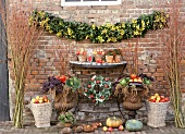 Interior courtyard decorated for Thanksgiving