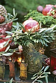 Decoration for Epiphany with olive branches & pomegranates