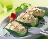 Courgettes stuffed with creamy sheep's cheese filling