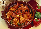 Chilli chicken with peppers and olives