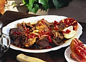 Beef loin with pomegranate sauce