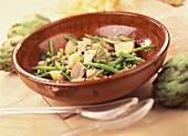 Green bean and artichoke salad