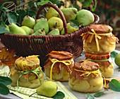 Bottled pears in jars