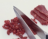 Chopping steak for fresh mince