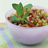 Vegetable salad with diced peppers and cucumber