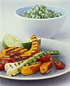 Grilled vegetables with herb rice