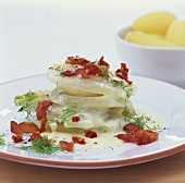Fennel gratin with bacon and dried tomatoes