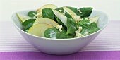 Spinach and apple salad with fresh horseradish