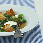 Spring onion soup with croutons