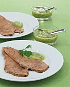Boiled beef with parsley-potato sauce