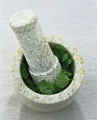 Stone pestle and mortar for crushing herbs or spices
