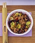 Minced pork with aubergines and leeks