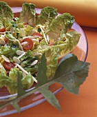 Lettuce with sprouts and flaked almonds