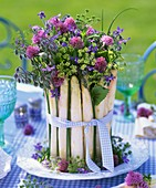Arrangement of chives, borage, dill and asparagus
