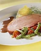 Kassler (cured pork) with vegetables and mashed potato