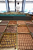 Chocolates in a factory laboratory