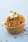 Bacon and onion muffin with sour cream
