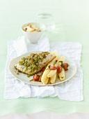 Zander with tarragon and asparagus