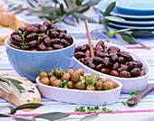 Various types of pickled olives for tapas