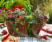 Basket of herbs and ornamental peppers