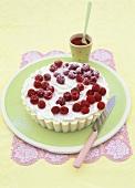 White chocolate ice cream and raspberry tart