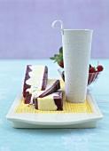 Berry and vanilla ice cream with meringue