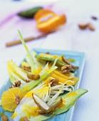 Chicory, orange & avocado salad with date & walnut dressing