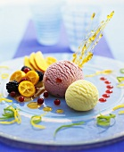 Vanilla & redcurrant ice cream with fruit & caramel strands